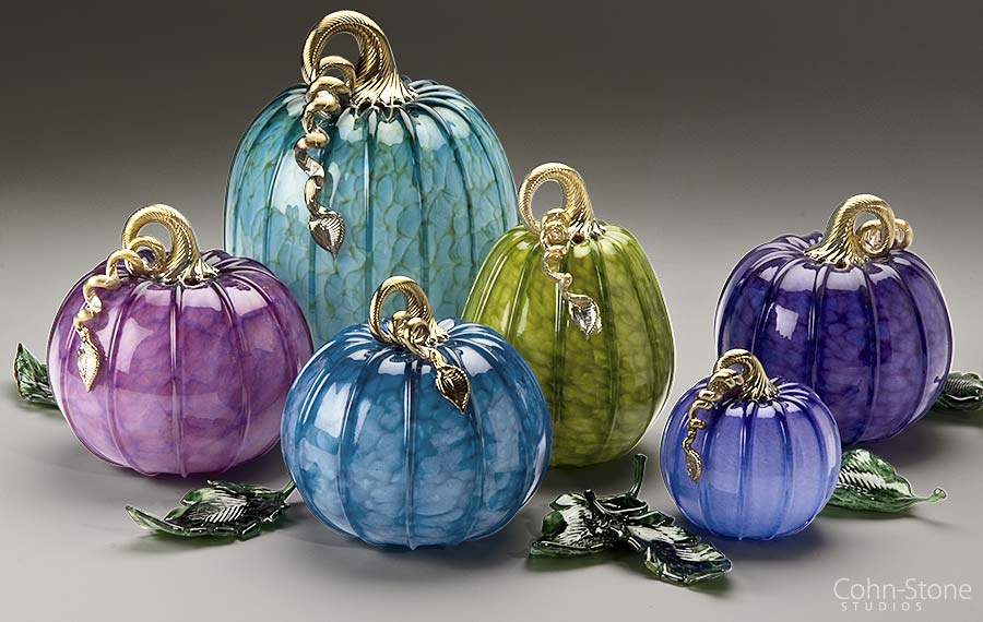 "Spring Pumpkins, Squash and Leaves — Hand Blown Glass 5""w to 9""w"
