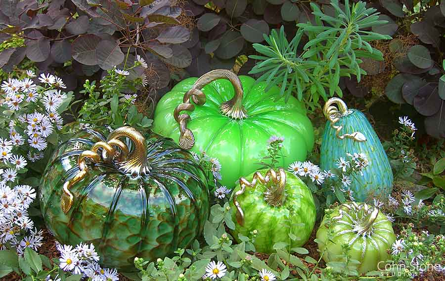 "Hand Blown Glass Pumpkins 5""w to 14""w"