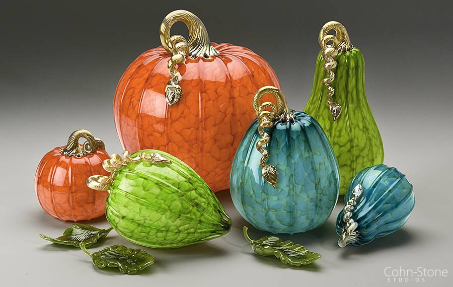 "Forest Mottled ""Metro Grouping"" of Hand Blown Glass Pumpkins and Squash — 5""w to 9""w"
