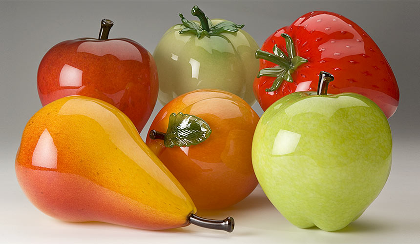 Glass fruit - museum quality, larger-than-life hand blown glass apple, tomato, strawberry, pear and peach