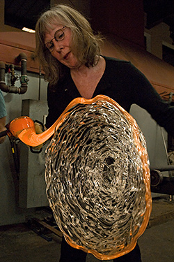 Glass Designer Molly Stone creating a Glass Nest